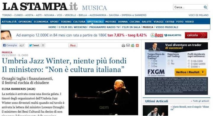 la Stampa Umbria Jazz