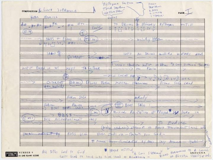 manoscritto originale A Love Supreme John Coltrane